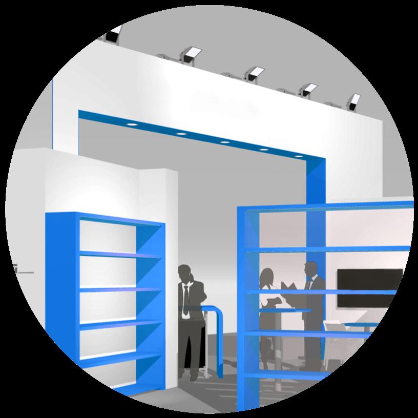 3D ontwerp en rendering van een originele beursstand | © www.Expopoint.be